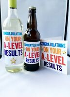 Congratulations A-Level Results, Exam Pass Greetings Card, Wine Beer Label Gift