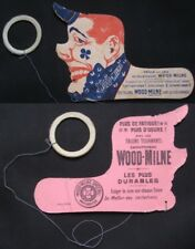 Clown c. 1900 Paper Toyc w/'Wood-Milne' Shoe Shine Advertising - French