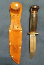 Vintage Marbles Gladstone Knife Fixed Blade Stacked Leather Handle With Sheath