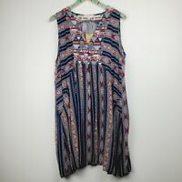 Umgee Plus Women's Aztec Print Tunic Dress with Pockets Sz 1X NWT