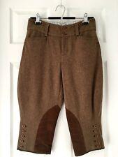 Rugby Ralph Lauren Womems 100%Wool Herringbone Tweed Pants Suede Patch Sz 2 Rare
