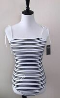 NWT Abercrombie & Fitch Women's TIE-SHOULDER BODYSUIT, White Stripe, Large