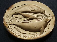 1.27 OZ SILVER BELUGA WHALE / AMERICAS NATURAL LEGACY 24K GOLD ON STERLING COIN