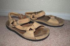 Teva beige sandals leather sz 7 athletic casual velcro shoc pad