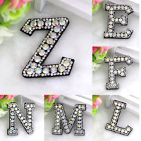 Rhinestone Letter Patches Sew on Iron on Alphabet Patch Letters Embroidered A-Z
