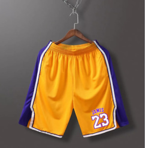 Basketball Shorts LeBron James Mens Los Angeles Lakers Stitched Yellow/Black2021