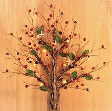 Primitive Country Berry Star LED Lighted Rustic Rattan Twig WALL TREE