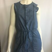 Womens Tommy Bahama Denim Shirt Dress Sleeveless Chambray Tie Waist Pockets Sz S