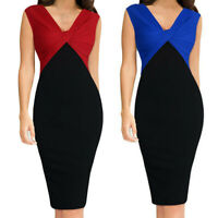 Women Fashion Patchwork Fold Sleeveless Work Dress Formal Plus Size Dress S-5XL