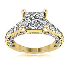 Solitaire Pave 2.50 Carat Princess Diamond H/VS2 Engagement Ring 14K Yellow Gold