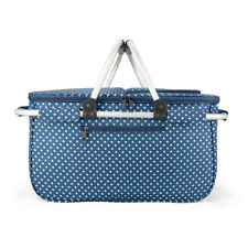 Eaglemate Foldable Outdoor Picnic Insulated Cooler Basket Tote Blue W/ white dot