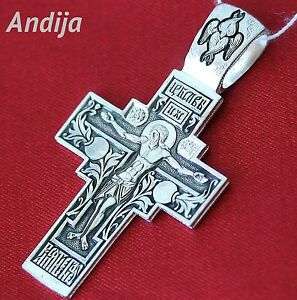 RUSSIAN ORTHODOX ICON BODY CRUCIFIX, SILVER 925 JESUS CHRIST HOLY MOTHER OF GOD