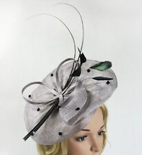 STUNNING GREY SINAMAY FASCINATOR WITH FEATHERS, QUILLS, SPRING RACING, WEDDING