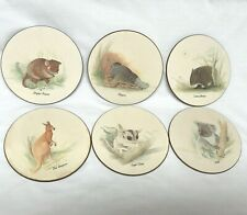 Australian Coasters by Jason 6 Round Coasters Possum Wombat Platypus Kanga Koala