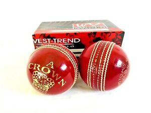 """WEST TREND ® """"CROWN"""" Leather Cricket Balls Senior Hand Stitched (BOX OF 2)"""