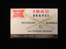 1960 Atlanta Braves Miller High Life Baseball Schedule