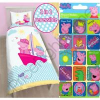 PEPPA PIG NAUTICAL SINGLE PANEL DUVET COVER SET + FREE SMALL REWARD STICKERS NEW