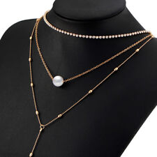 Faux Pearl Crystal Tassels Multi-layer Charm Chain Necklace For Women Girls N7