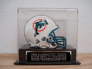 Kansas City Chiefs Football Mini Helmet Display Case W/ A Super Bowl 4 Nameplate