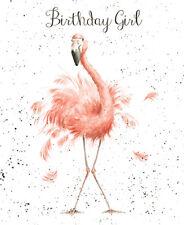Happy Birthday Girl Greeting Card - Wrendale Designs - Flamingo Birthday Girl