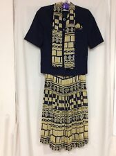 Vivienne Lawrence Skirt Suit Navy Blue And Yellow Size 10 Wedding/Cruise
