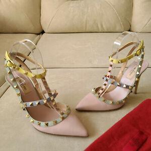 Valentino Rockstud Pastel Pale Pink Multicolored Strap Sandal Heels 38.5