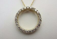 14K Yellow Gold And 0.75 Carat Diamond Circle of Life Pendant Necklace