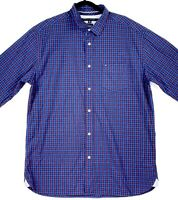 Tommy Hilfiger Men's Size XL Blue Red Check Collared Long Sleeve Casual Shirt