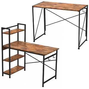 Industrial Style Rustic Metal Frame Wooden Computer Desk Workstation Home Office