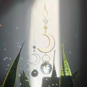 Geometric Moon SunCatchers Light Catcher Crystal Rainbow Maker Window Hanging