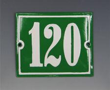EMAILLE, EMAIL-HAUSNUMMER 120 in GRÜN/WEISS um 1955