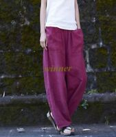 Womens Baggy Linen Cotton Summer Pockets Pants Harem Bloomers  Loose Trousers sz