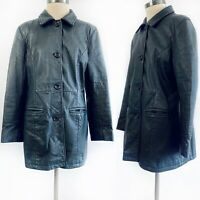 Women's Frye Black Leather Button Up Collared Long Coat Jacket Size Large L