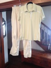 Womens Nike Dri Fit 2 Piece Set Golf Checkered Track Pants 3 Button S/S Polo Top