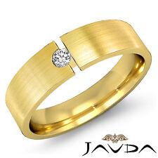 6mm Half Wedding Band 18k Yellow Gold Mens Solitaire Round Diamond Ring 0.10Ct