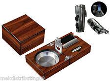 Walnut Folding Cigar Ashtray Set Adj Lighter w/cutters Very Solid 1 1/2 LBS