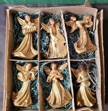 "Vintage Box Of 6 Italian Baroque Christmas Angels Band - 3 1/4"" Tall"