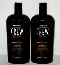 2 X American Crew Firm Hold Hair Gel 33.8 oz Liter Set Duo No Flaking