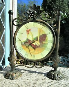ROOSTER CLOCK Round RUSTIC with Copper Iron Stand COUNTRY Decor