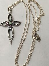 Sterling Silver 925 Lenox Cross with Multi Colored Stones Necklace