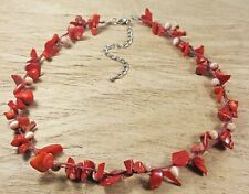 "Freedom Tree""  Red Coral & Cats Eye Gemstone Necklace Hand Made"
