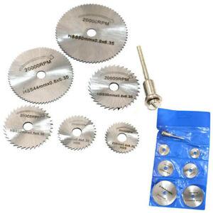 7PCS Disc Drill Blades and Mandrel Wood Cutting Saw Blade Set HSS Rotary Tools