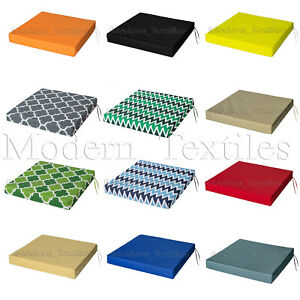 WATERPROOF Chair Cushion Seat Pads OUTDOOR Tie On Garden Patio REMOVABLE COVER!