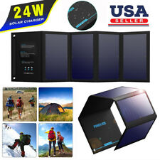 Foldable Solar Panel Waterproof 24W 5V Portable Battery Charger For Cell Phones