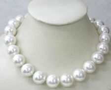"""Shell Pearl Necklace 18"""" New 10mm White Sea South"""
