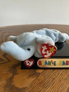 NWT Peanut the Elephant Ty Beanie Baby in MINT condition ~ light blue