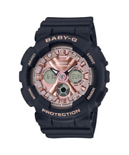 NEW BABY-G BA130-1A4 ANA-DIGI COLOR EDITION 3D BLACK/ PINK WATCH