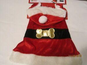 "Holiday Time Dog Christmas Santa Suit Coat Hoodie MEDIUM (14""-15"")"