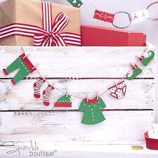 ELF Vestiti/Linea Di Lavaggio MINI Bunting & esegue il pegging-Natale/Natale Avvento MENSOLA IDEA