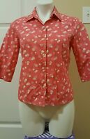 J Crew Women's Pink Polka Dots Collared Button Half Sleeve Crop Blouse Size M